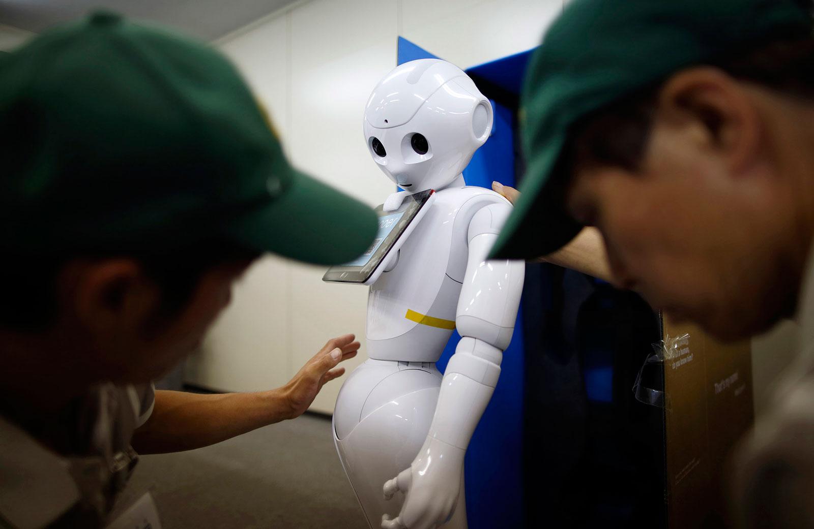 A box containing SoftBank's humanoid robot Pepper