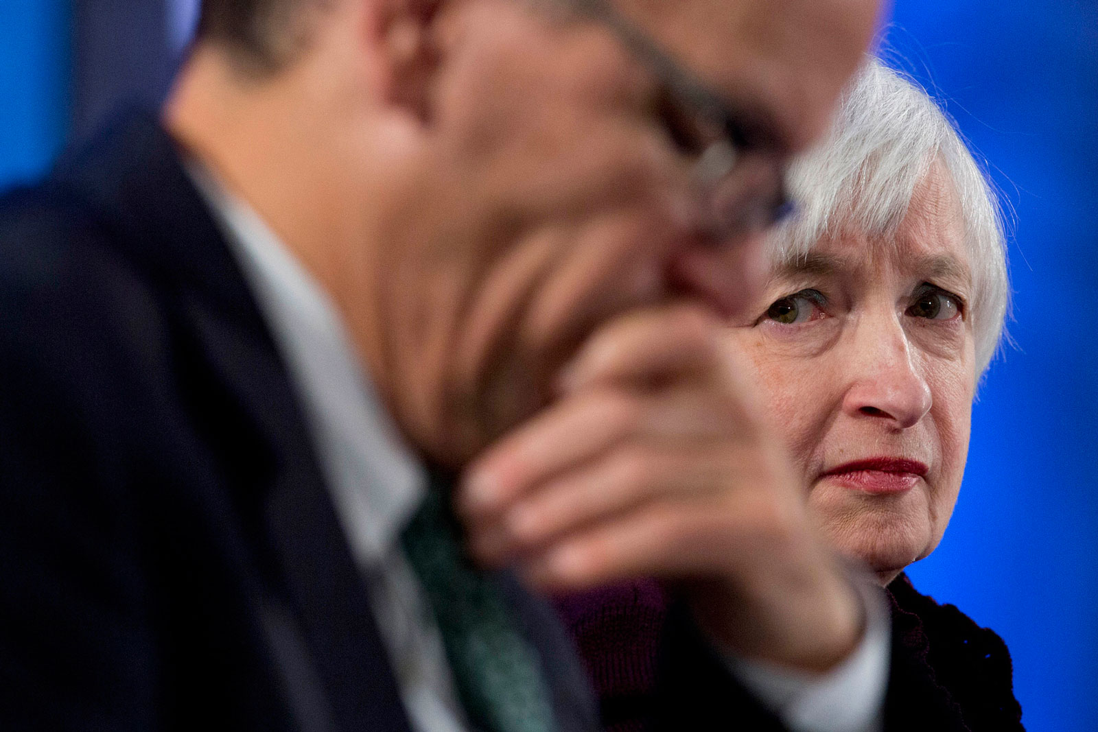 Janet Yellen, chair of the U.S. Federal Reserve, looks toward Thomas Perez, U.S. secretary of labor, during a Labor Hall of Fame Honor induction ceremony