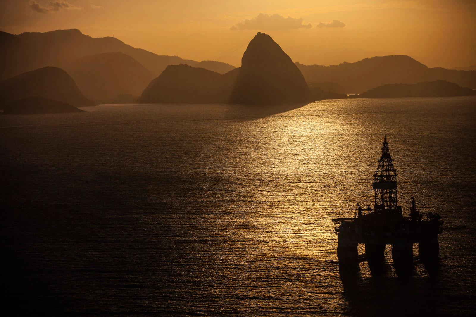 An oil platform floats near the coast of Rio de Janeiro on Wednesday, May 20, 2015.