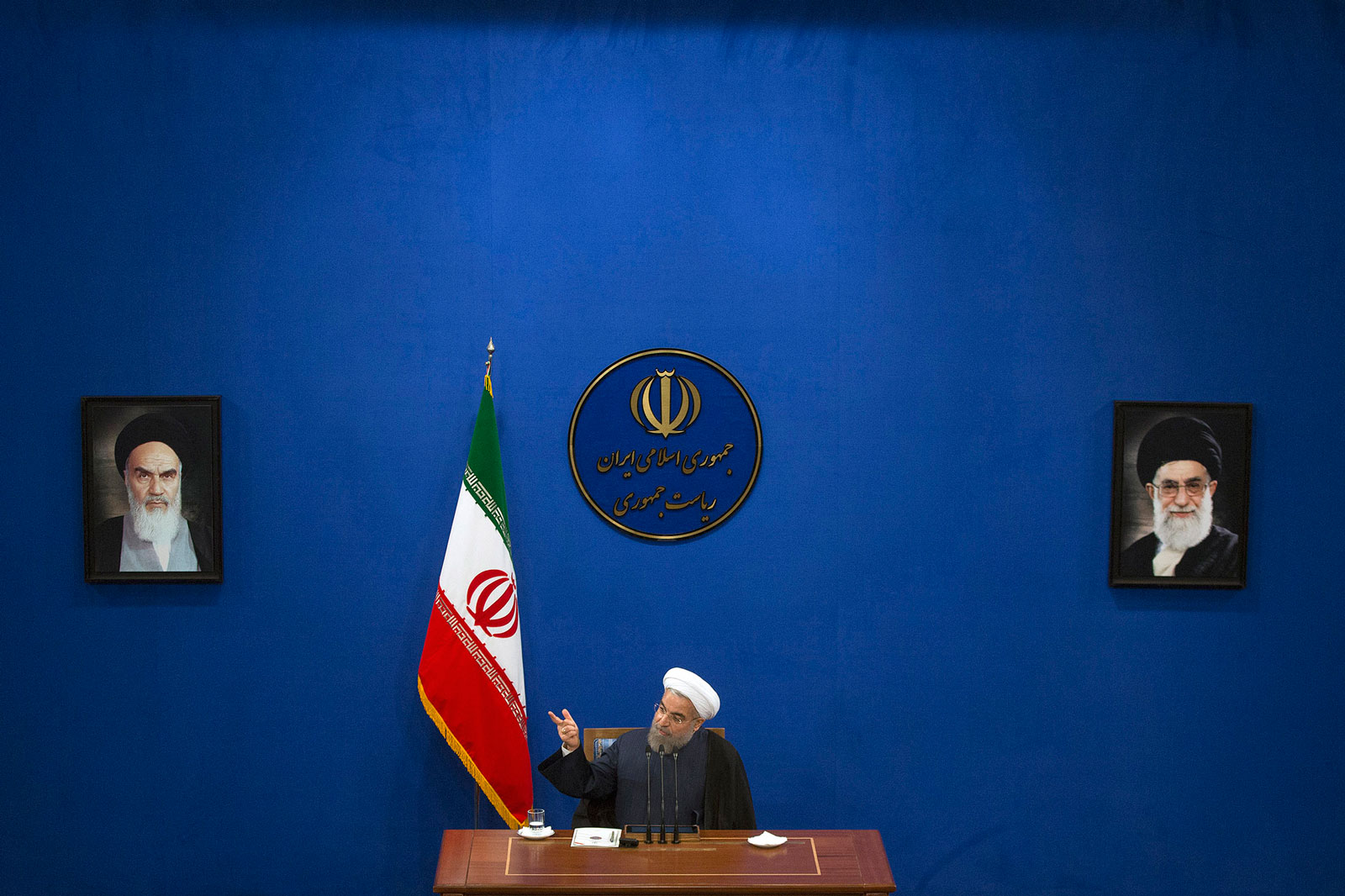 Hassan Rouhani, Iran's president, speaks during a press conference at the presidential offices in Tehran