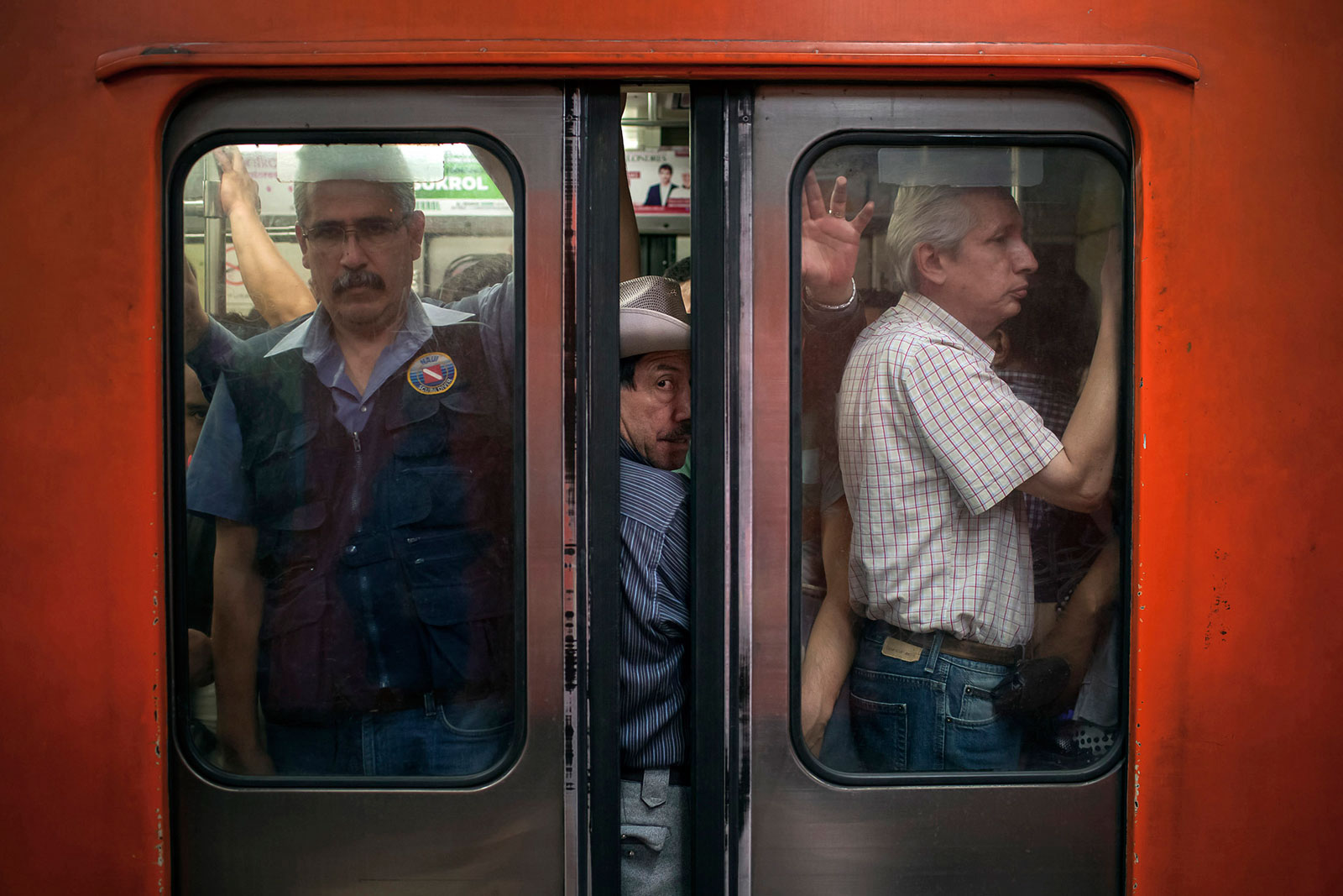The door closes on a crowded subway car at the Pantitlan Metro station in Mexico City
