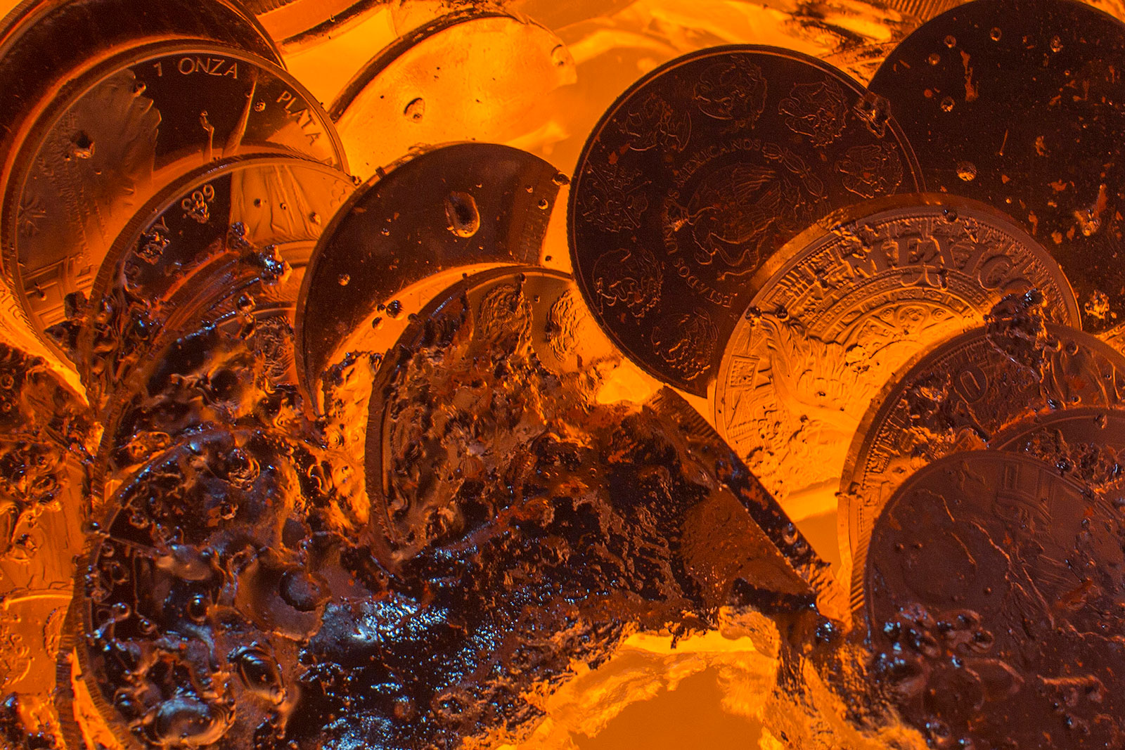 Silver coins are melted for reuse at the Mexican Mint, or Casa de Moneda, in San Luis Potosi, Mexico