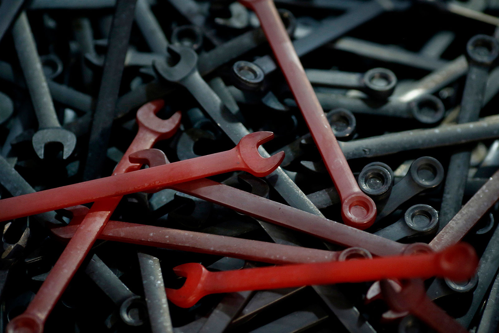 Red-hot wrenches after being forged on the production line at the Snap-on manufacturing facility in Elizabethton, Tenn.