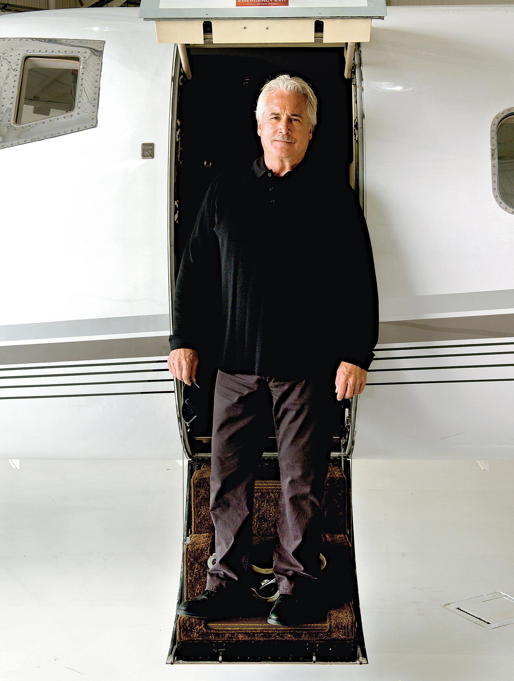 Sweeney aboard one of his Learjets.