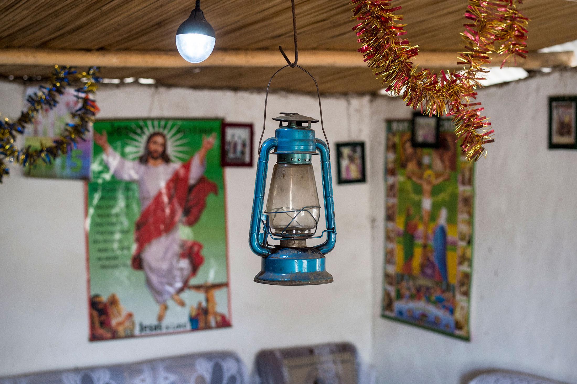 Before using solar lights, Atieno was using this kerosene lamp.