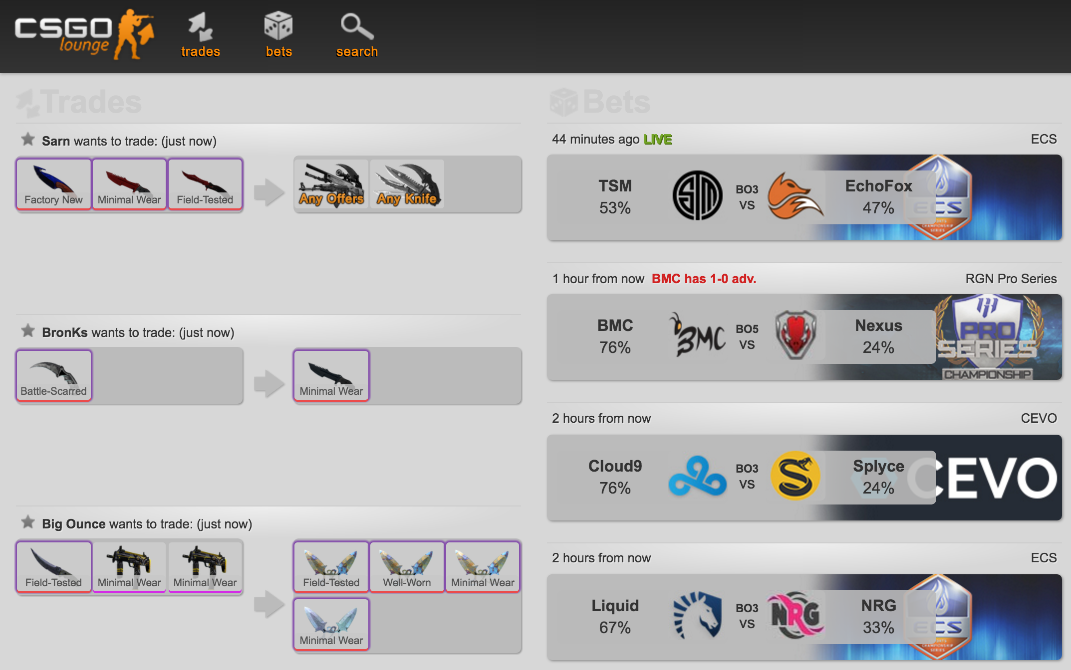 Bets and trade proposals on the website CSGO Lounge