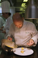 Chef Heinz Beck plates his famed carbonara-filled packages.
