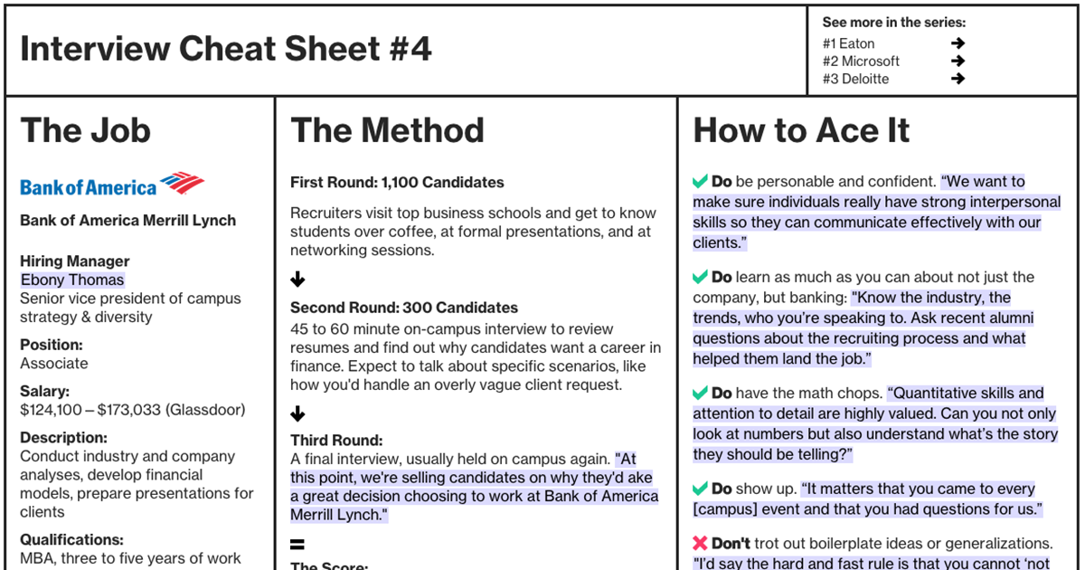 interview cheat sheet  bank of america