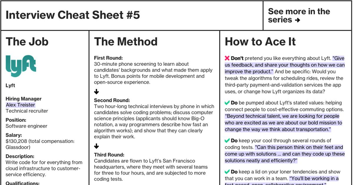 Interview Cheat Sheet Lyft Bloomberg Business