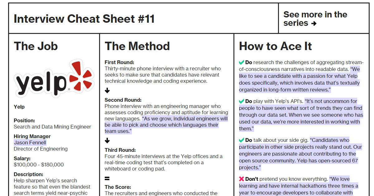Interview Cheat Sheet Yelp Bloomberg Business