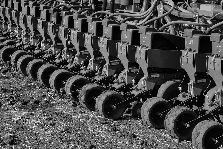 A 36-row corn planter working on the Kevin Skunes farm northeast of Arthur, North Dakota.