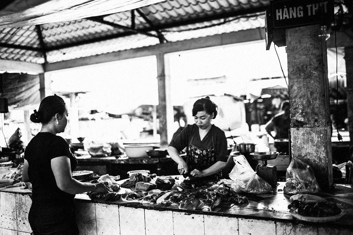 A pork stall at a market in Hanoi, Vietnam