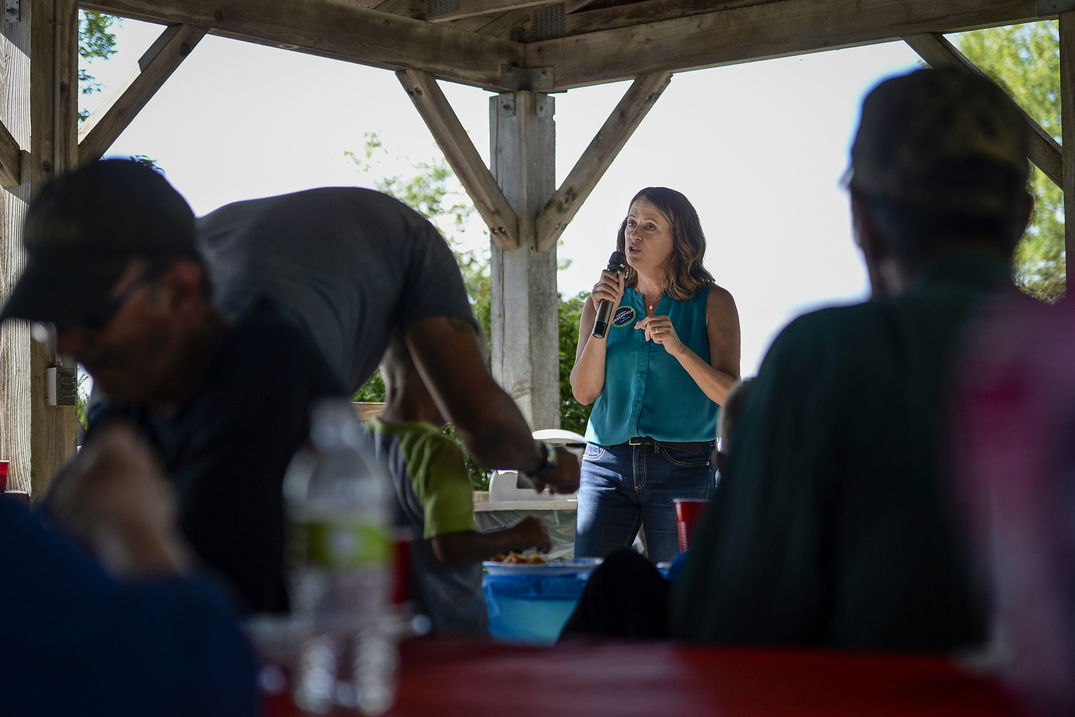 Democratic senate candidate Theresa Greenfield speaks at a picnic hosted by the Adair County Democrats in Greenfield, Iowa on Sunday August 11, 2019.
