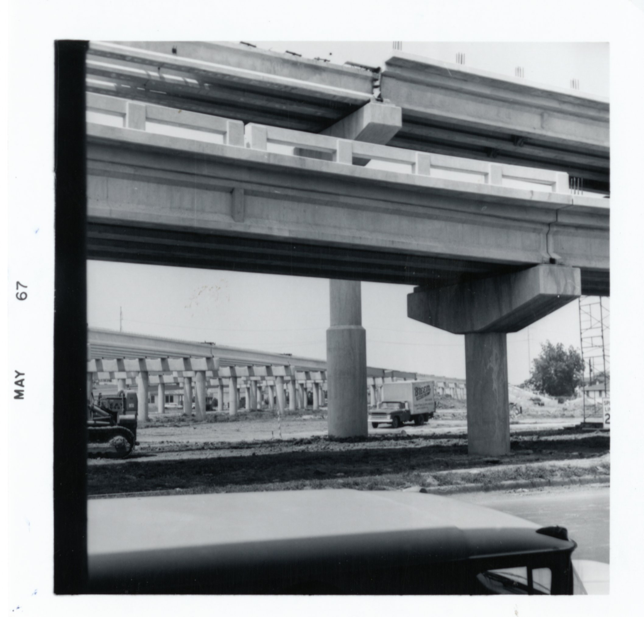 Historic photos show the construction of I-10 above Claiborne Avenue in 1967.