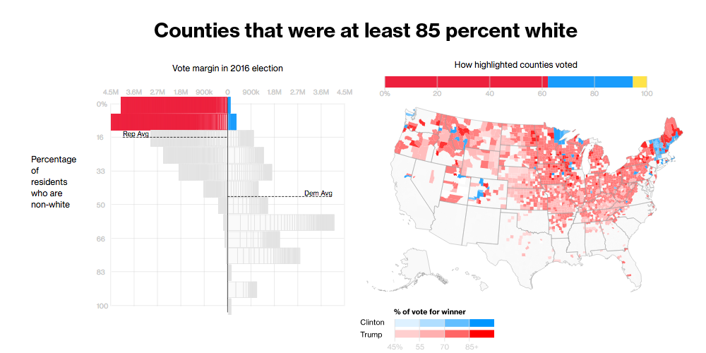 The Voters Who Gave Trump The White House - Whitest Plaaes In Us Map
